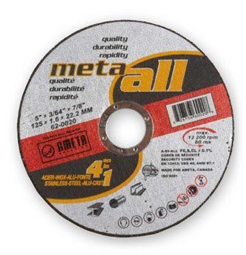 Ameta Solution 62-0010 Meule à tronçonner meta-all 4 en 1 4-1/2