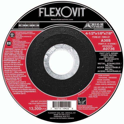 Flexovit A0736 Meule à tronçonner high performance 4-1/2