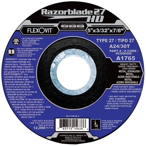 Flexovit A1765 Meule à tronçonner razorblade27hd 5