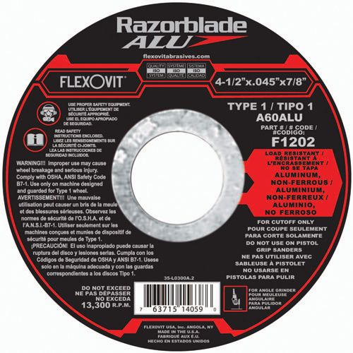 Flexovit F1202 Meule à tronçonner razorbladealu 4-1/2