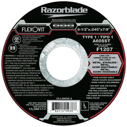 Flexovit F1207 Meule à tronçonner razorblade® 4-1/2