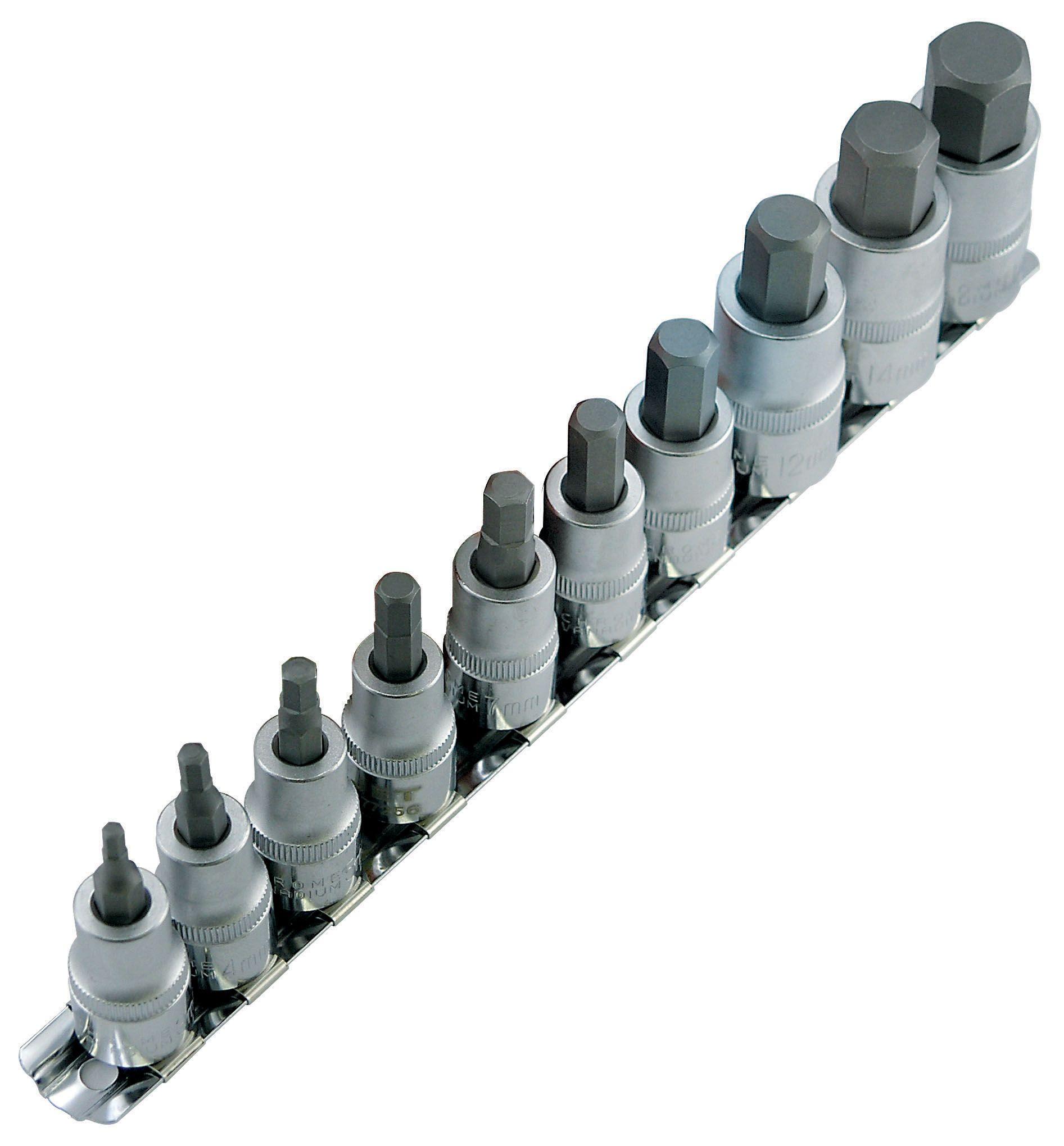 Jet 601803 Ensemble de 10 douilles hexagonales métriques à prises assorties
