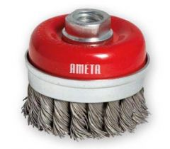 """Ameta Solution 72-1400 4"""" x 5/8""""-11 knotted cup brush"""