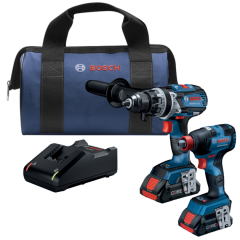 "Bosch GXL18V-224B25 2 - tool brushless 18V combo kit (Impact drill & 1/4""hex/1/2""dr. impact wrench)"