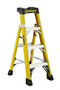 Featherlite FXS6904 4' fiberglass Cross-Step 2-in-1 step ladder