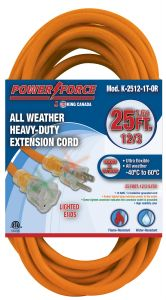 King K-2512-1T-OR 25' 12 AWG Simple plug extension cord ( Orange )