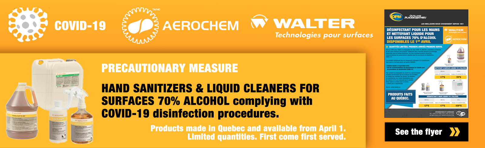 Aerochem hand sanitisers and cleaners 70% alcool from Walter to avoid spreding covid-19