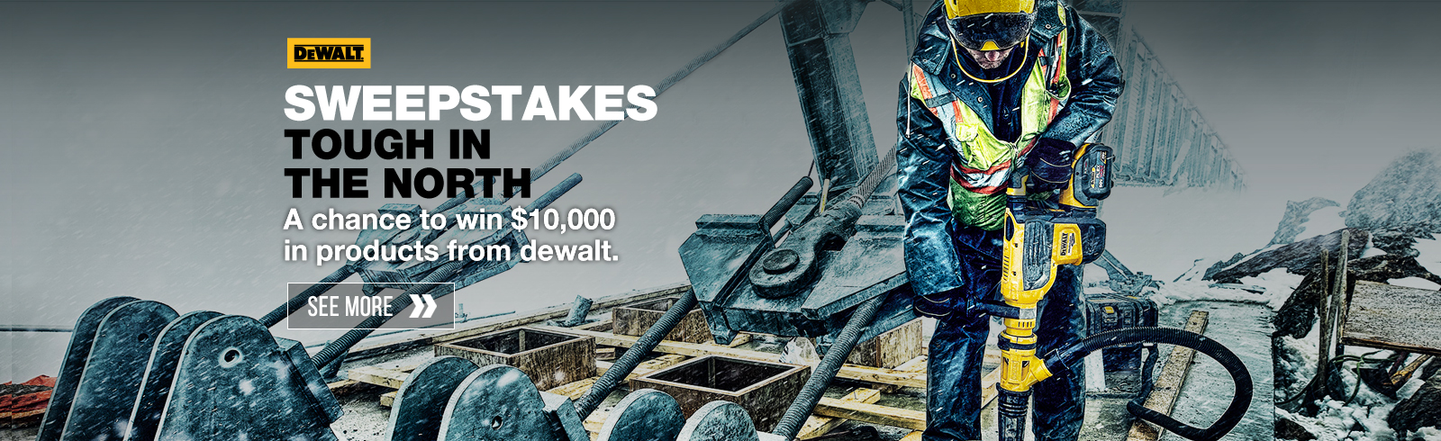 A chance ton win $10,000 in products from dewalt